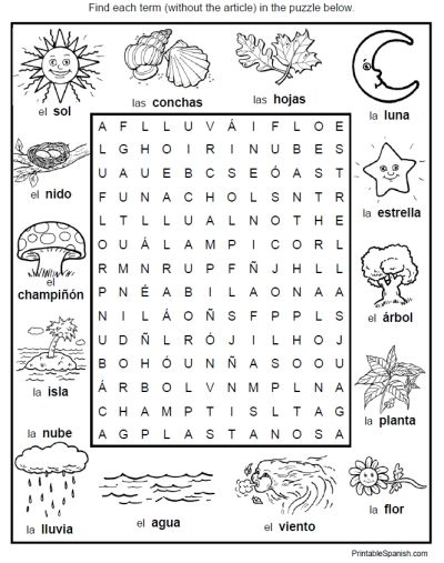 spanish word search puzzle worksheet environment nature ...