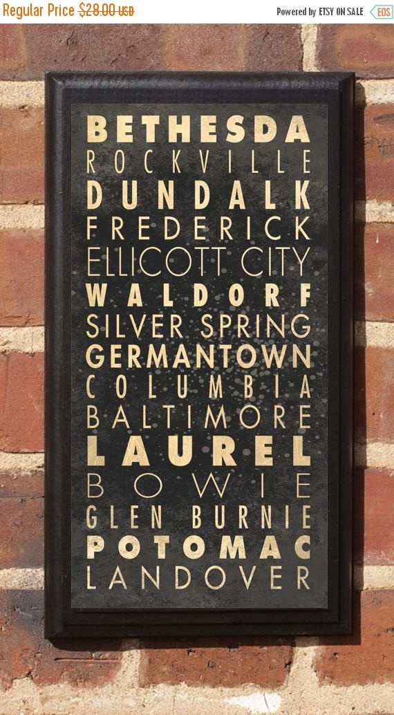 Maryland Cities Wall Art Sign Plaque Gift Present Home Decor Vintage Style Md Baltimore Bethesda Frederick Silver Springs Landover Classic Wall Plaques Nascar