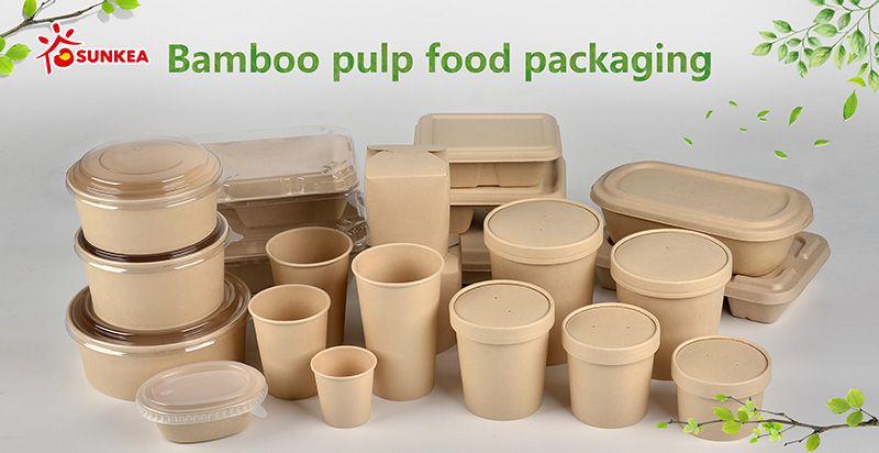 Bamboo fiber paper salad bowl with plastic lid food