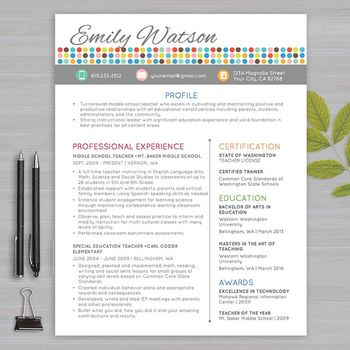 RESUME TEACHER Template For MS Word + Educator Resume Writing Guide