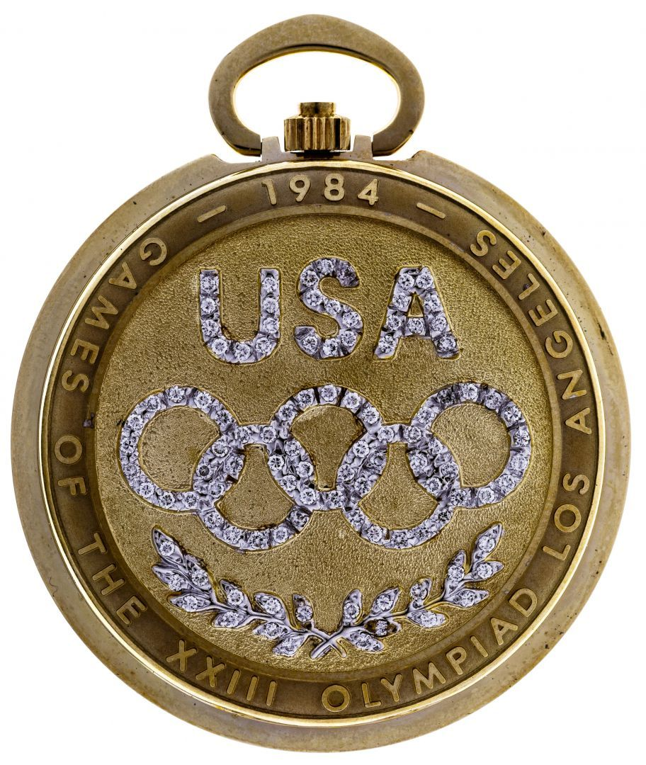 Lot 296: Longines 1984 Olympic 14k Gold Pocket Watch