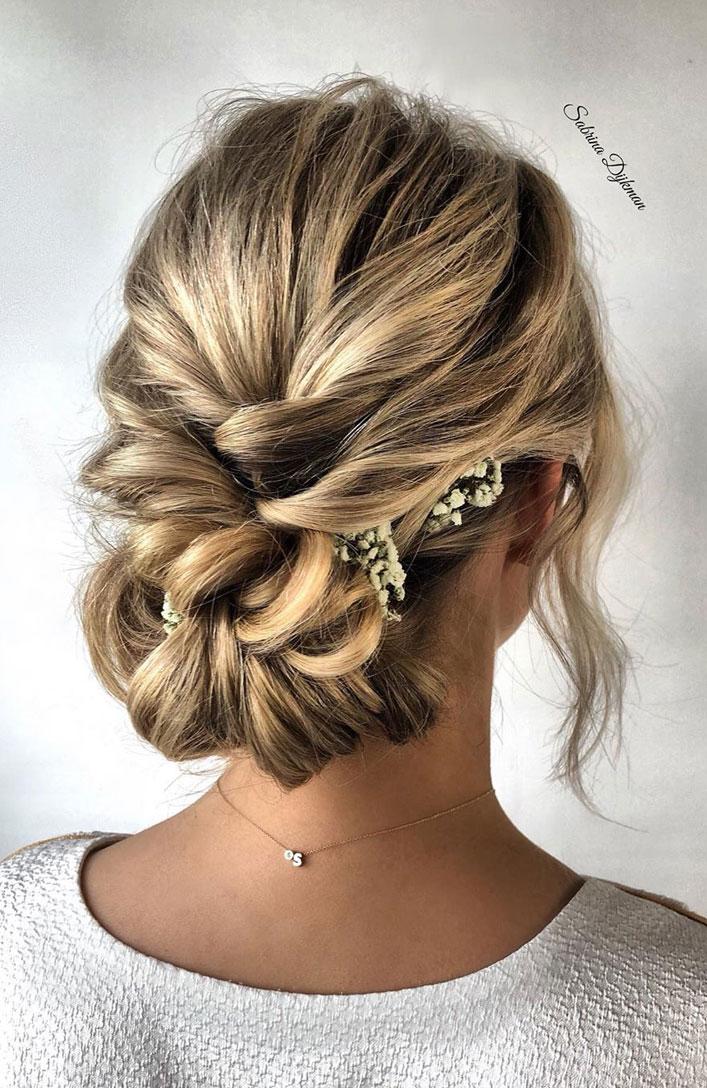 The Fabulous updo hairstyles for weddings - braided bun undone wedding hair #hairstyle # ...