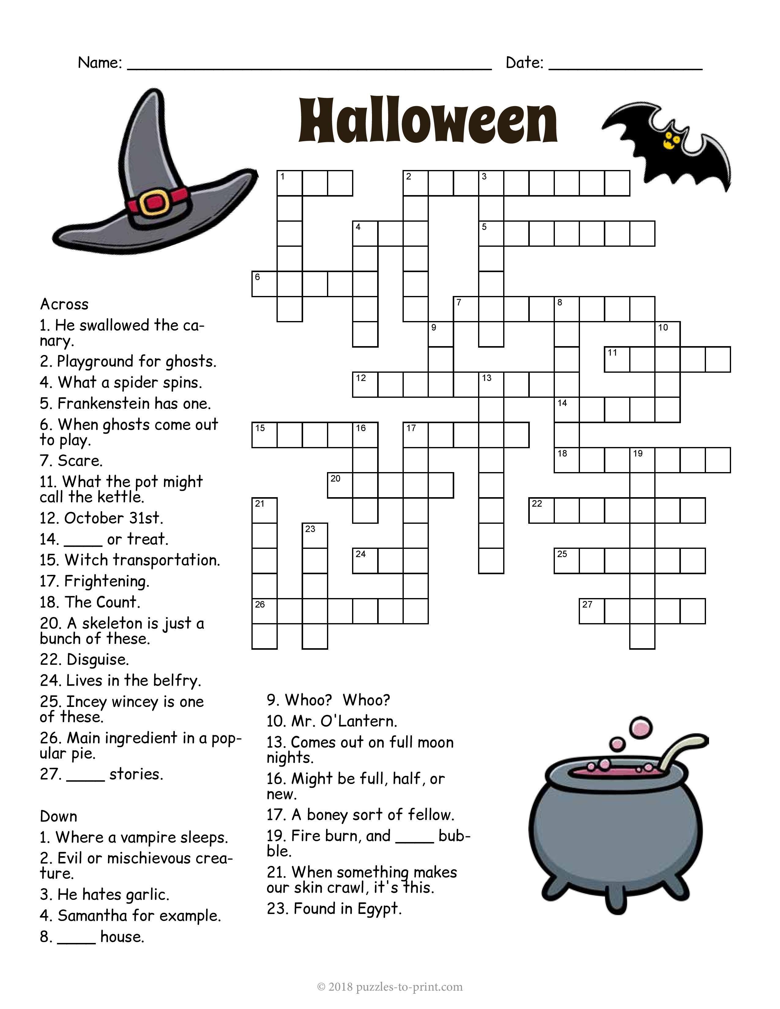 Halloween Crossword Halloween Crossword Puzzles Halloween Puzzles Halloween Activity Sheets