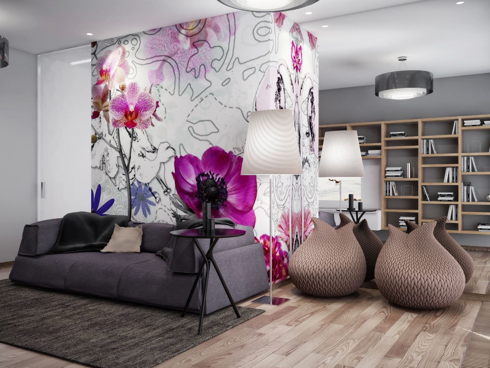 Grey and pink living room - Purple And Grey Living Room Design House Decor