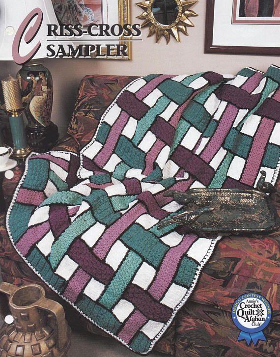 Criss Cross Sampler Annies Attic Crochet Quilt Afghan Crochet