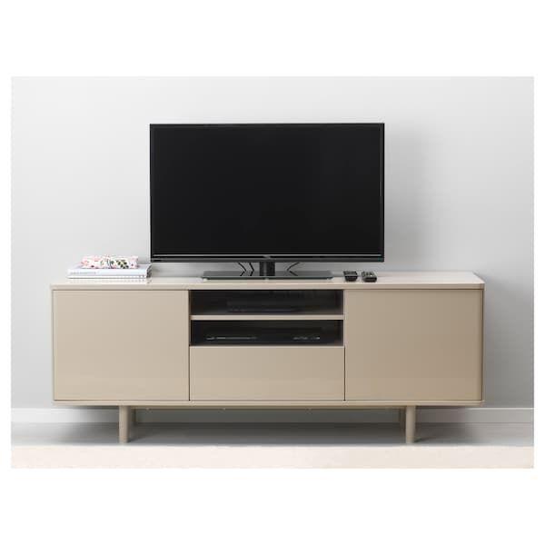 MOSTORP TV bench beige high gloss beige IKEA | Tv bench