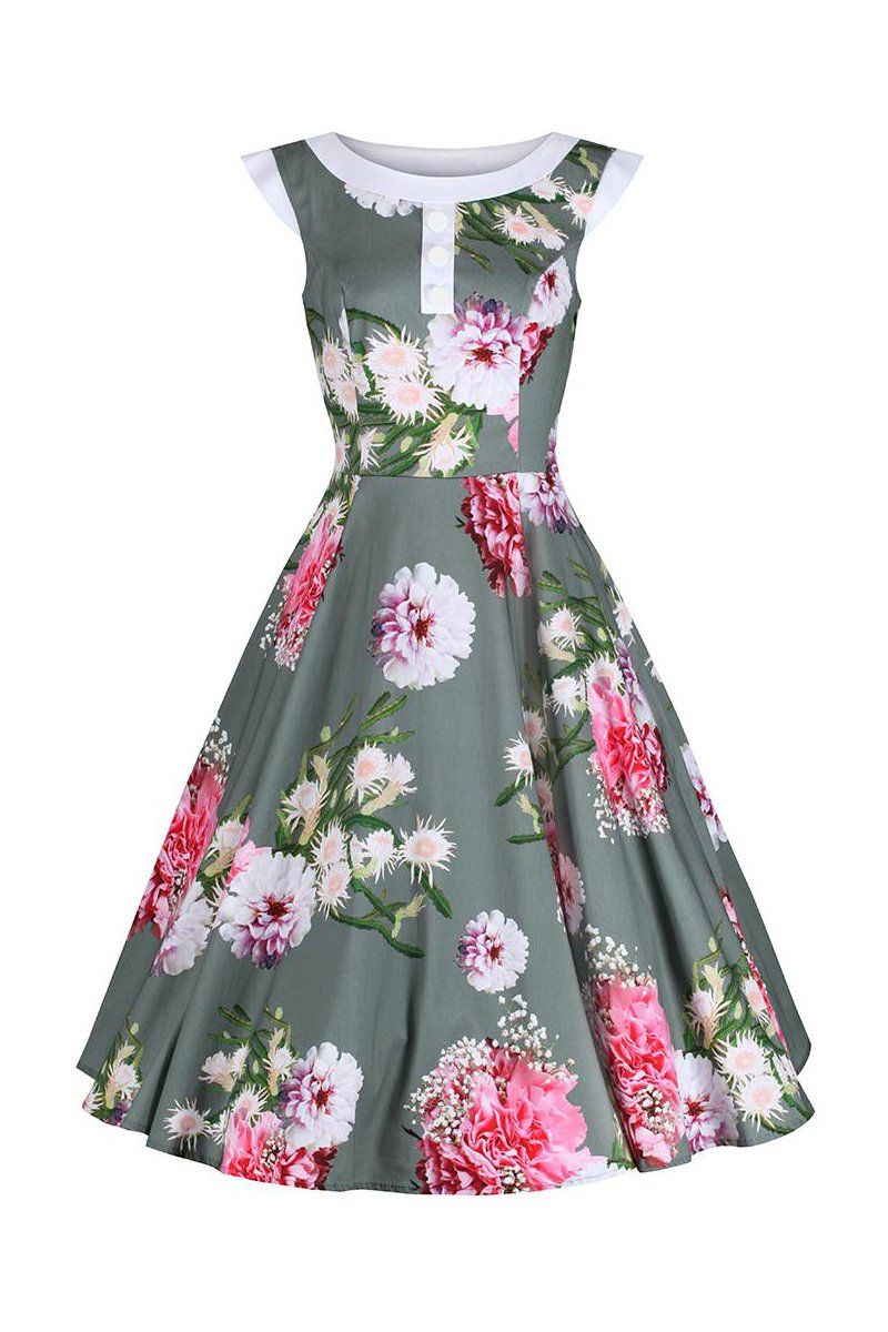 42c3437774a3 Sage Green Floral Print Rockabilly 50s Swing Dress 50s Style Clothing, Vintage  Style Dresses,