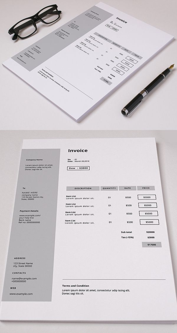 minimal invoice template gift pinterest template stationery