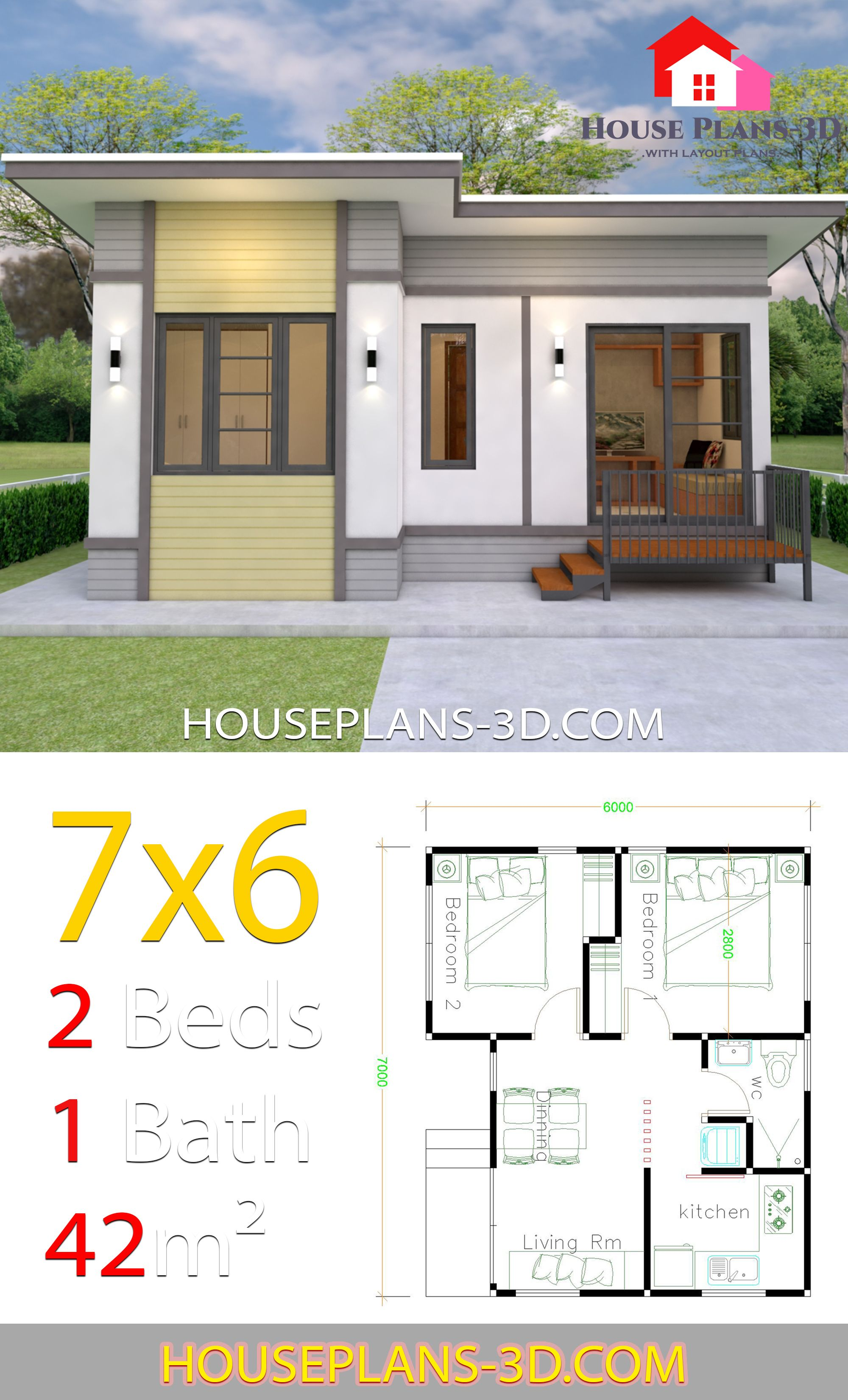 Small House Plans 7x6 With 2 Bedrooms House Plans 3d In 2020 Flat Roof House House Plans Simple House Plans