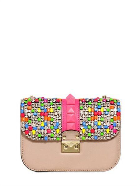 9df6f563f24 Valentino Small Lock Leather Shoulder Bag in Pink (POUDRE FUCHSIA) - Lyst