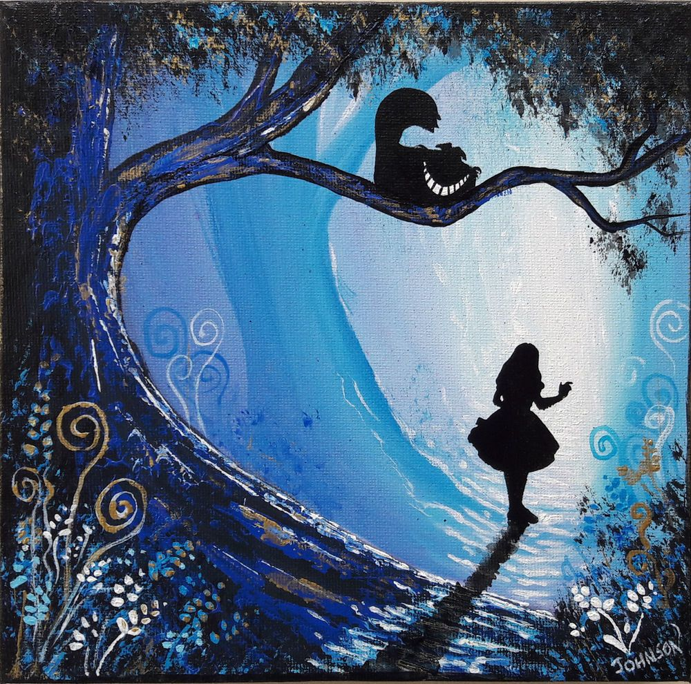 "Ooak Original Rare Art Painted Alice In Wonderland Fantasy Painting Artwork "" Cheshire Cat"