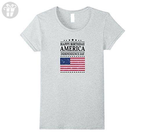 Womens Happy Birthday America - Independence Day Tee Shirt Large Heather Grey - Birthday shirts (*Amazon Partner-Link)