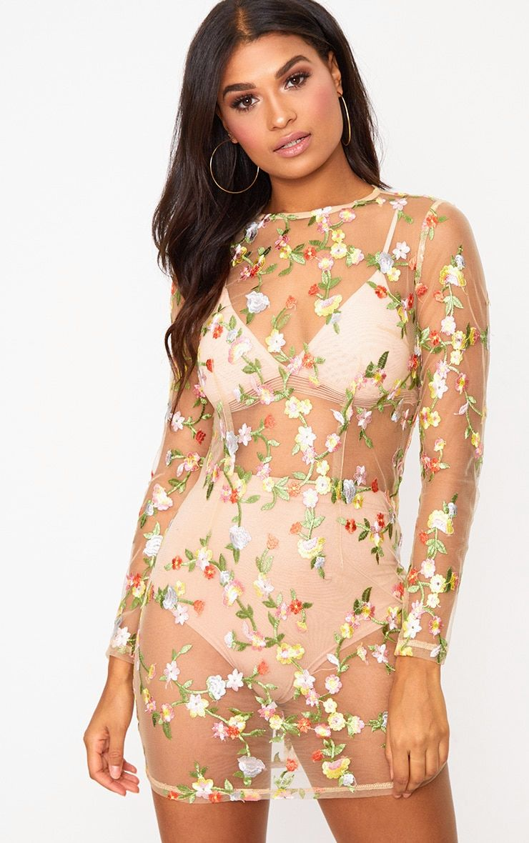2fc02c631557 Nude Floral Embroidered Sheer Lace Bodycon Dress | SummerSeventeen ...