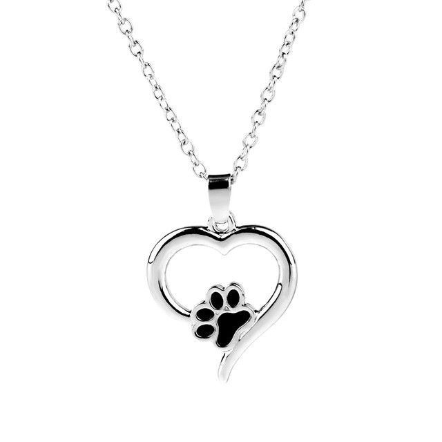 Dog Paw Pendant Necklaces Hollow Heart Foot Print Lover