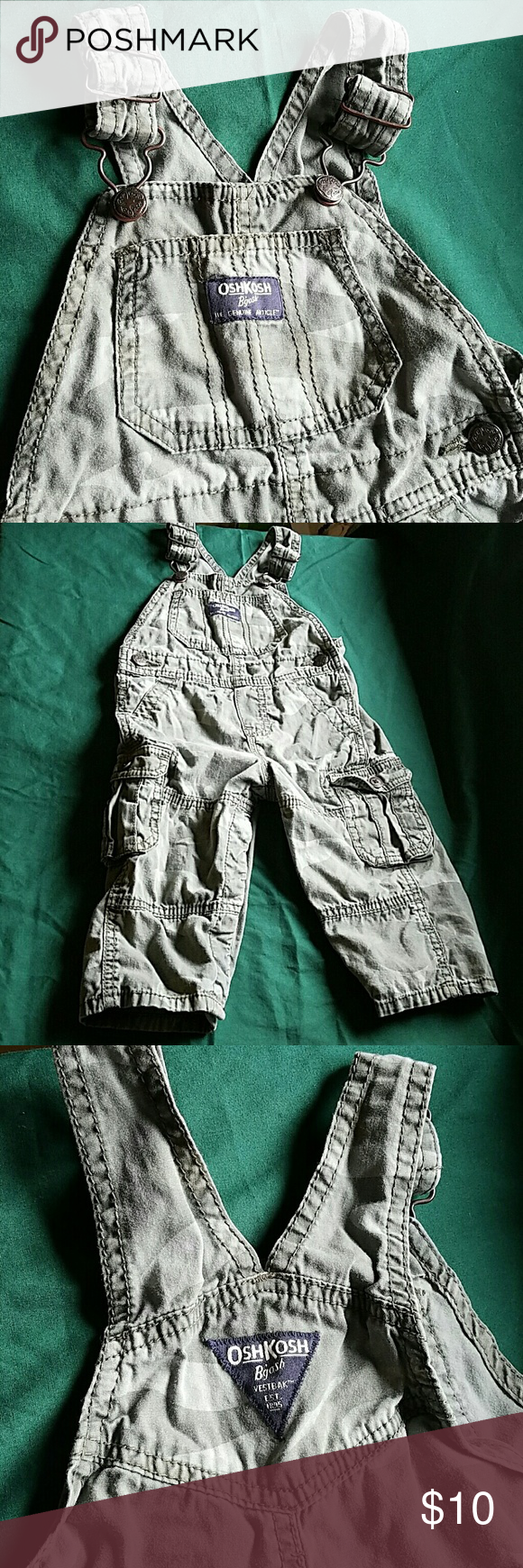 Osh Kosh 12 months Boys Camo Overalls snap legs Osh Kosh 12 months Boys Camo Overalls snap legs. EUC. Only washed with fragrance free detergent. Smoke free and pet free home. Check out my other kids clothes for a bundle savings of 20%! Osh Kosh Bottoms Overalls