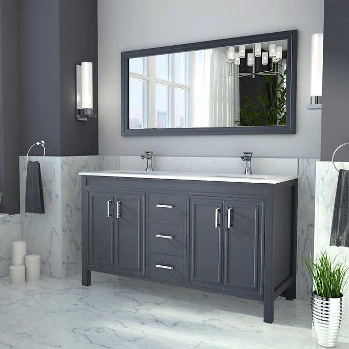 Guest Bathroom Vanity Corniche 60 Pepper Gray Double Sink