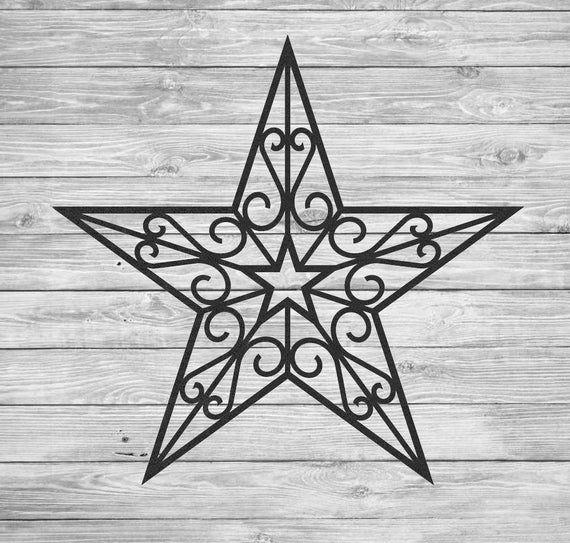Star inspiré Tenture murale en fer forgé avec volutes, plusieurs tailles, plusieurs choix de ...