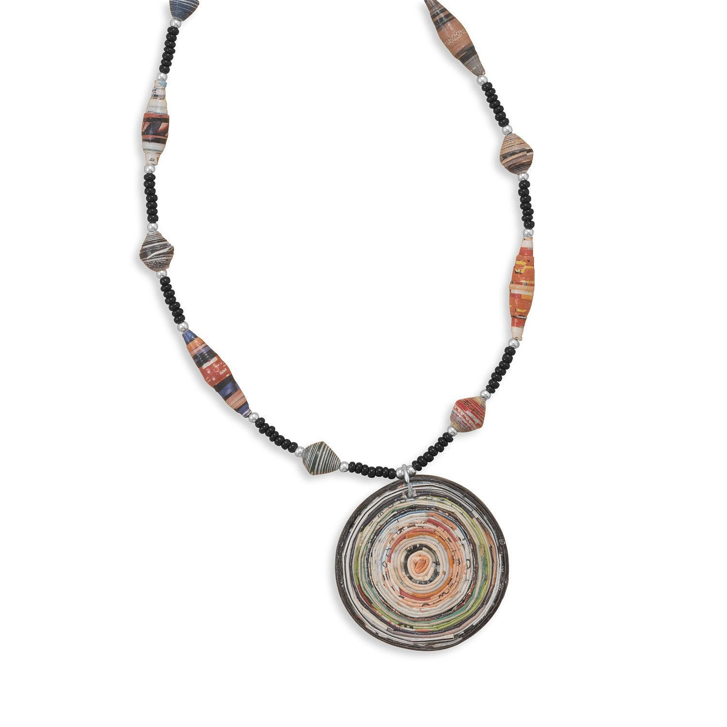 "16""+ 2"" Recycled Paper Necklace with Drop"
