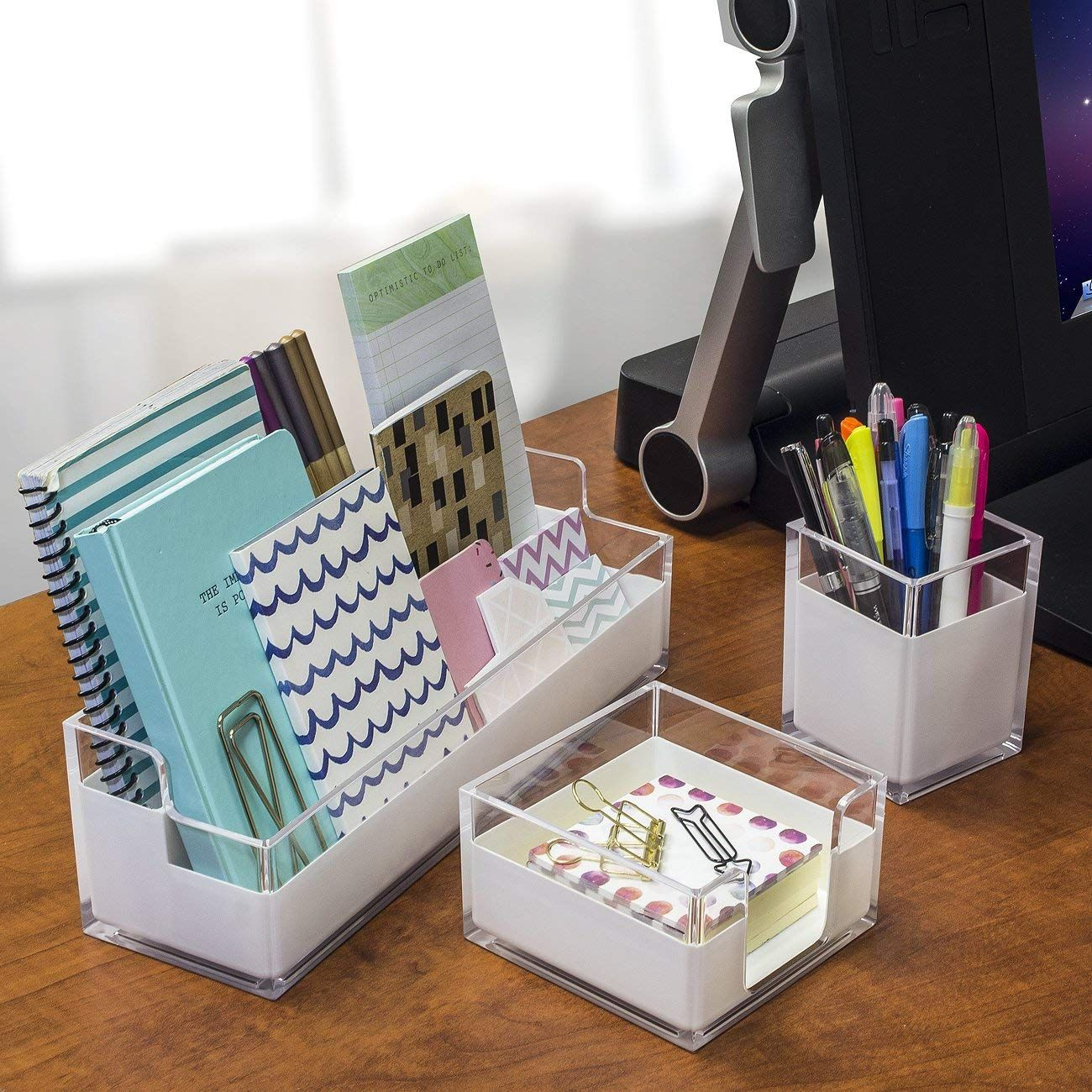 Sorbus Acrylic Desk Organizers Set 3 Piece Includes Desk