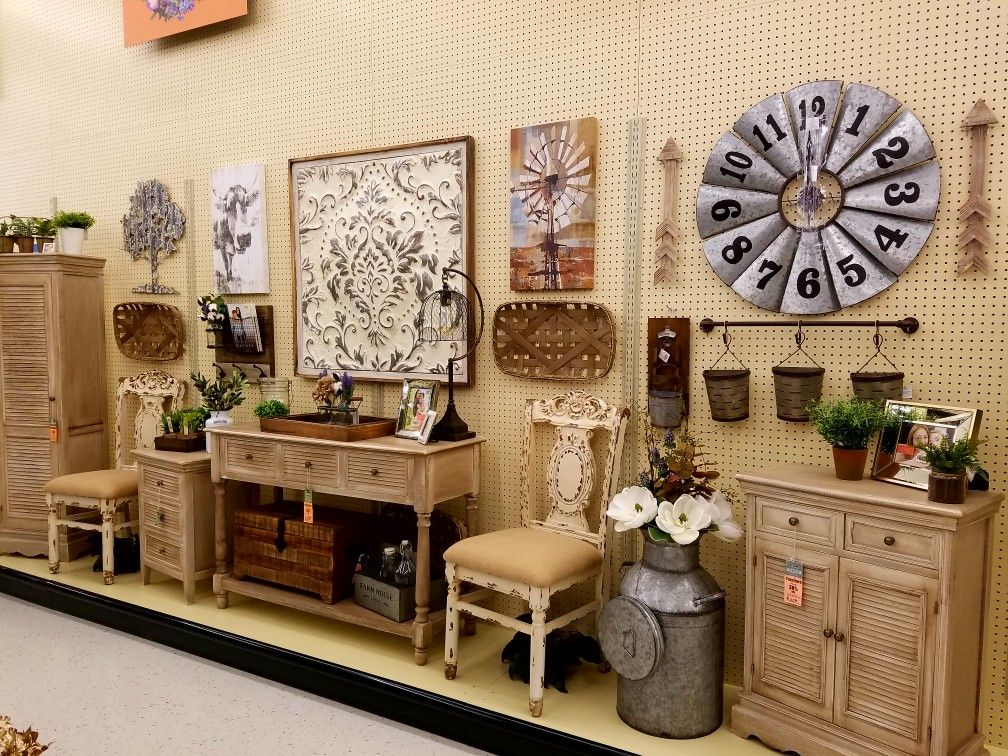 Hobby Lobby farmhouse furniture and wall decor display ...