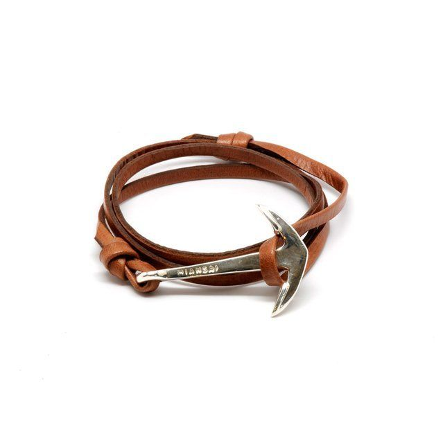 Anchor on brown leather cuff – by MANSAI