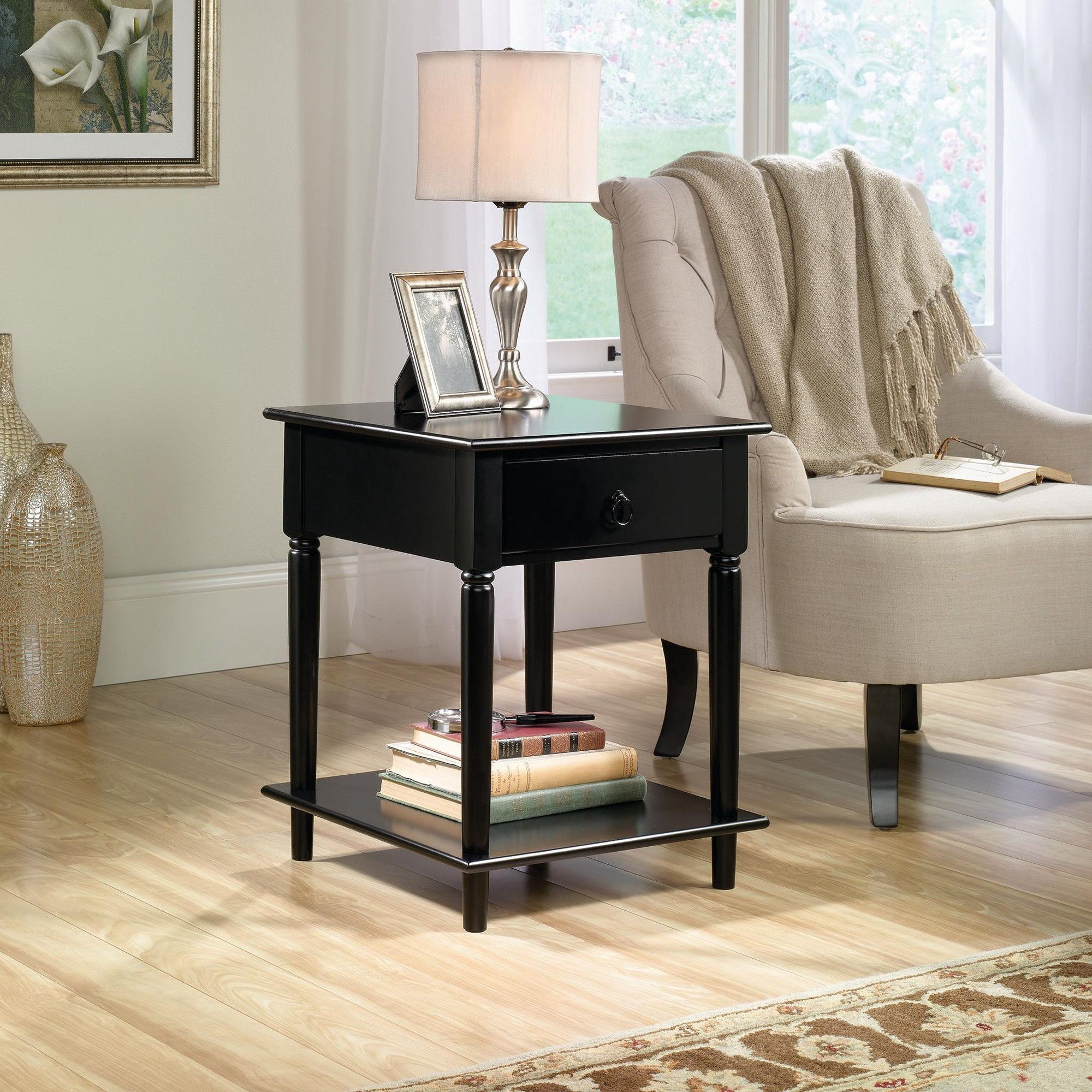 Palladia Side Table Black Sauder, Adult Unisex Black