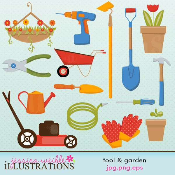 Herbs In Pots Clipart | Tool And Garden Cute Digital Clipart For Card  Design, Scrapbooking
