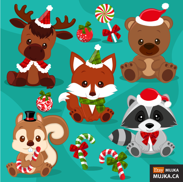 christmas-baby-woodland-animals-clipart-02.png (601×600)