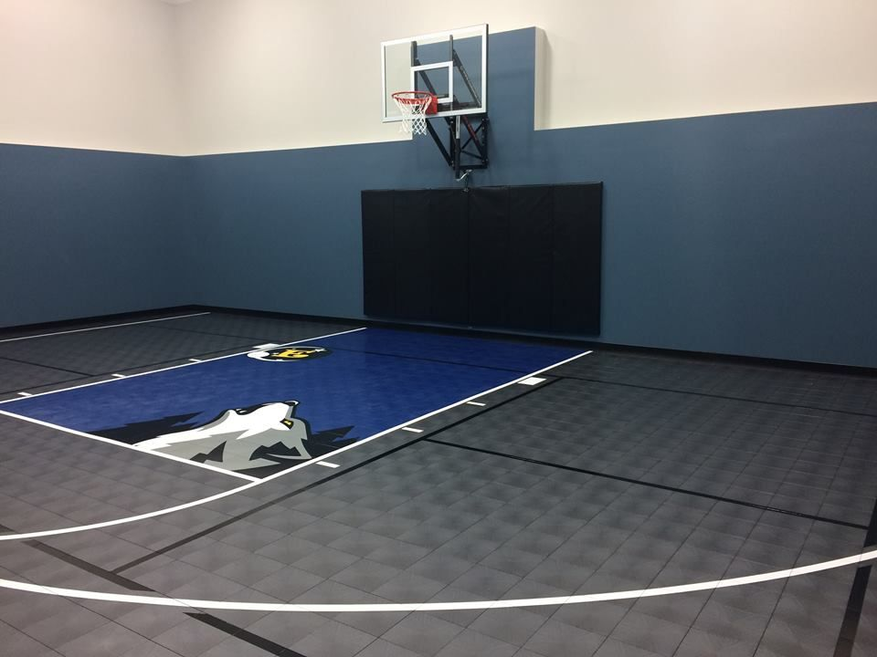 Need Some Inspiration For Your Home Gym Check Out Our Latest Home Court Installation This 30 X Indoor Basketball Court Backyard Basketball Indoor Basketball