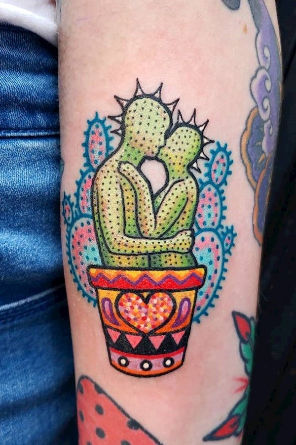 She wanted a cactus so I made this. Punk rock kissing cactus lovers ???? Grow together. Tattoo #5 during my guest spot at @mastertattoo1949 in San Diego . . . #tattoo #tattoos #art #chicagotattooartist #chicago #chicagotattoos #burnttiger #femaletattooartist #ladytattooers #psychedelictattoo #psychedelictaco #broadsquadchicago #cactus #cactustattoo #mastertattoo #punk #punkrock #punktattoo #sandiego #sandiegotattoo #love
