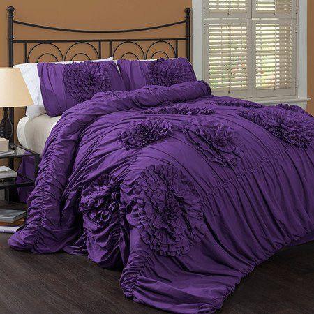 Calliope Rose 3 Pc Purple Flower Ruffle Comforter Bedding Set