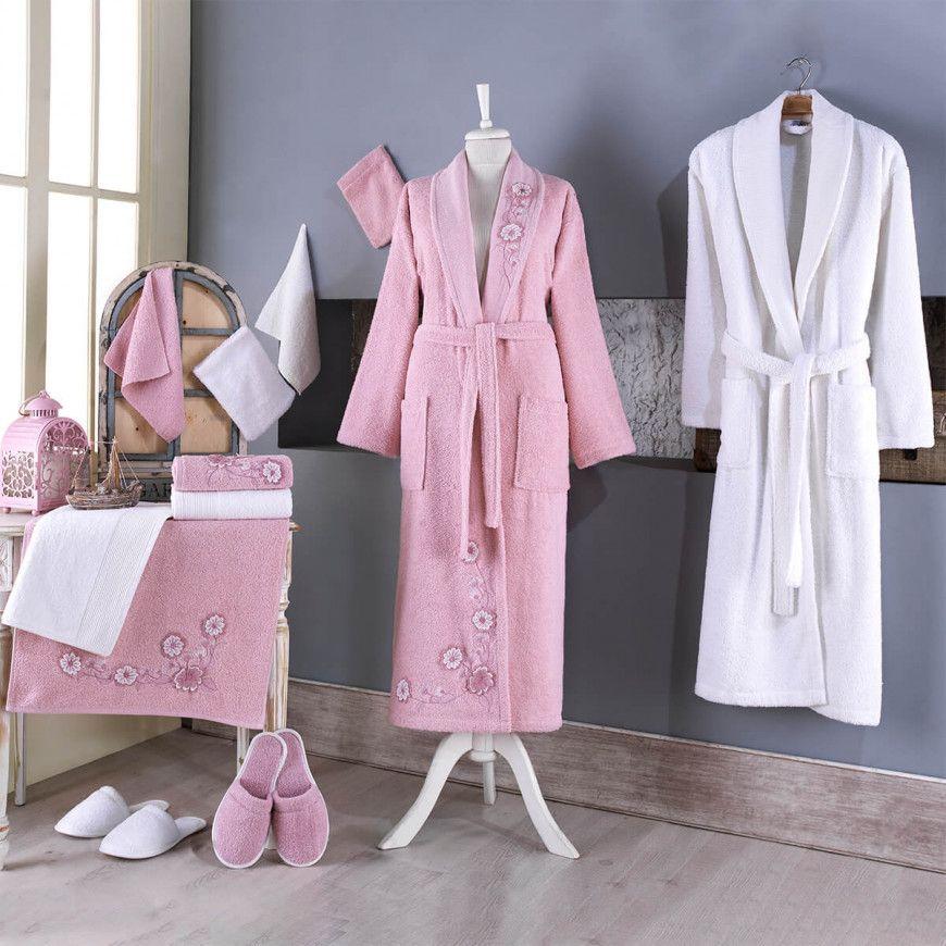 طقم أرواب استحمام كارينا مطرز أبيض و وردي عدد القطع 14 Fashion Cotton Robe