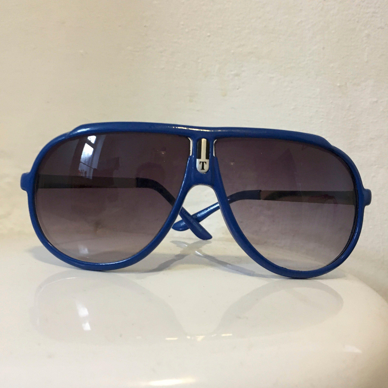 2fc34eb416e Sunglasses  Vintage 80s Sunglasses  Blue Sunglasses  Turbo Sunglasses   Aviator Sunglasses  Sport