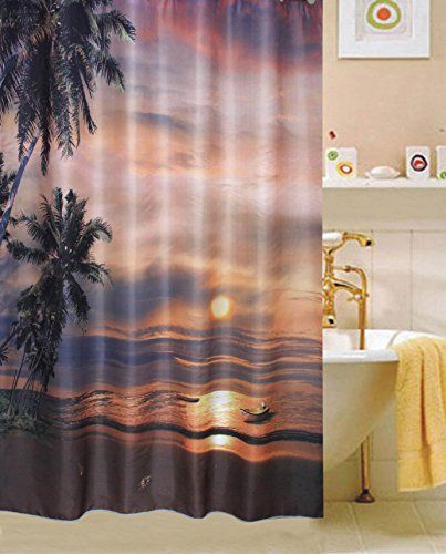 Starfish Fabric Shower Curtain Bathroom Waterproof Beach Ocean