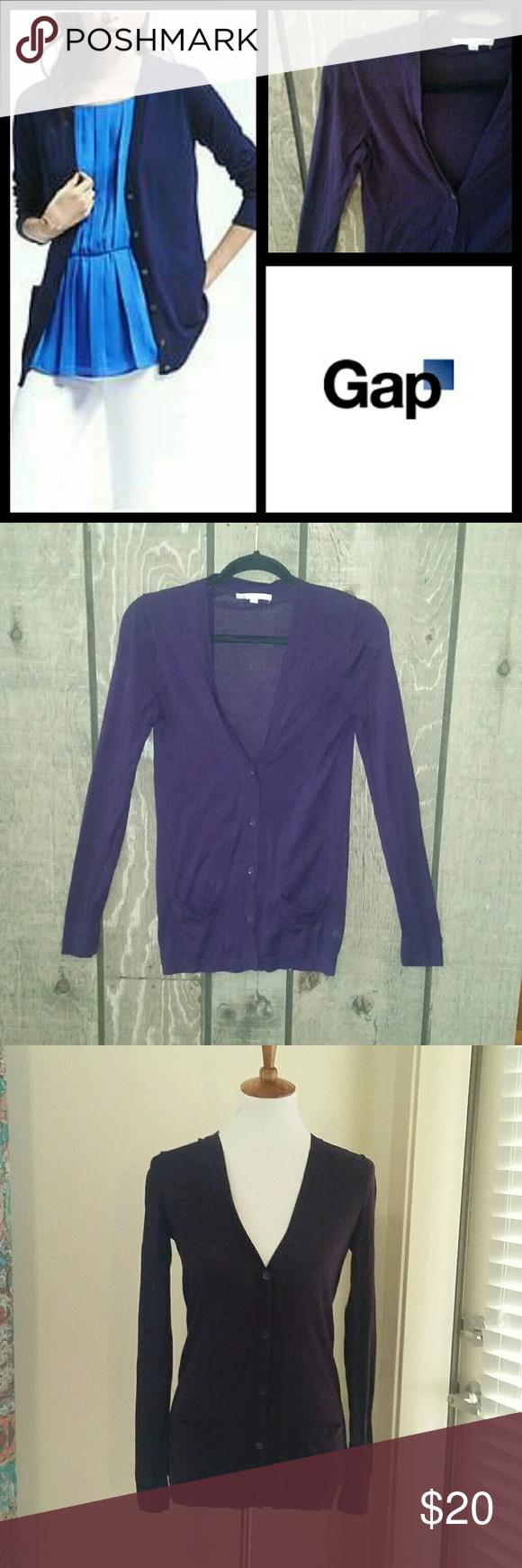 Gap boyfriend button up cardigan deep purple Slightly oversized ...