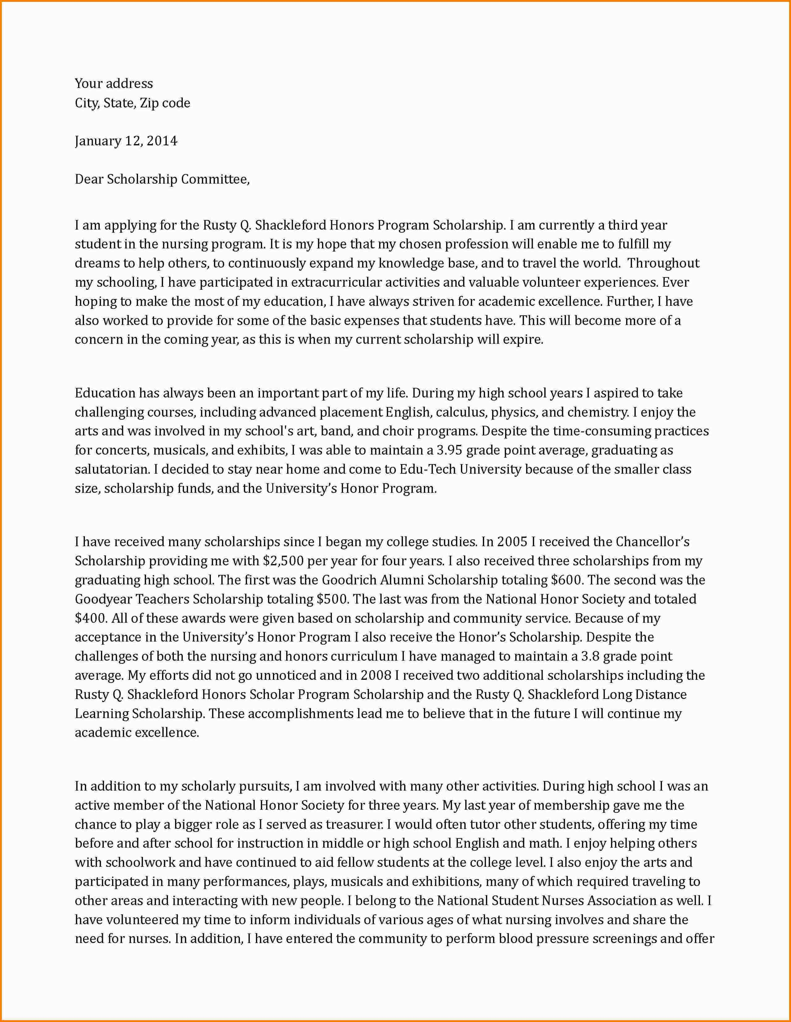 Scholarship Cover Letter Application Letter For Scholarship Example Templates Doc Free Amp