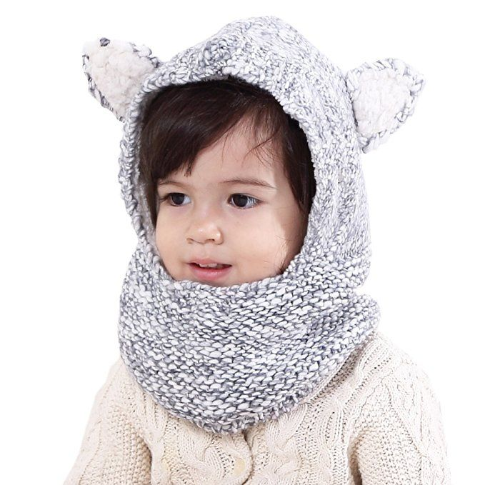 cc9669a45 Connectyle Boys Girls Kids Winter Hats Scarf Warm Woolen Earflap ...