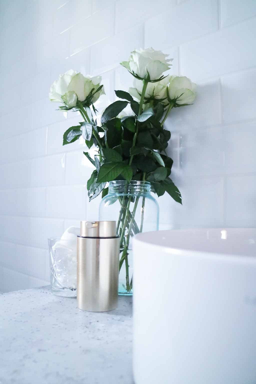 Industrial Modern Bathroom White Brass Gold Faucet Concrete Roses