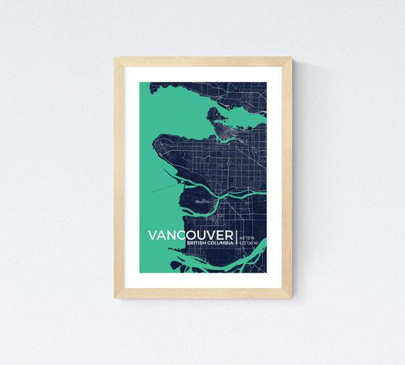 Frameable World Map.World Map Prints Vancouver Bc Canada Custom Map Print 13 X19