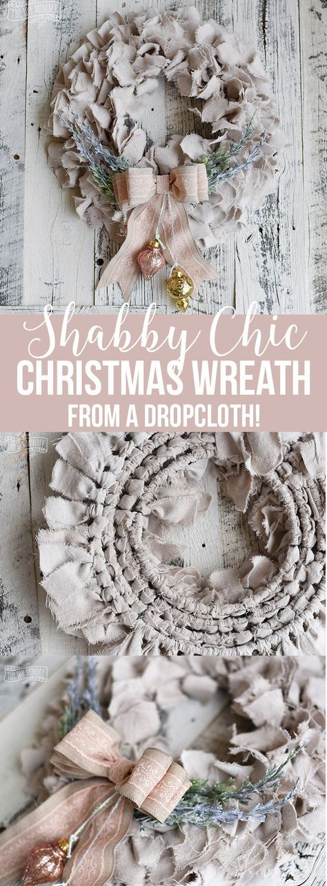 Photo of Shabby Chic Dropcloth Rag Christmas Wreath | The DIY Mommy