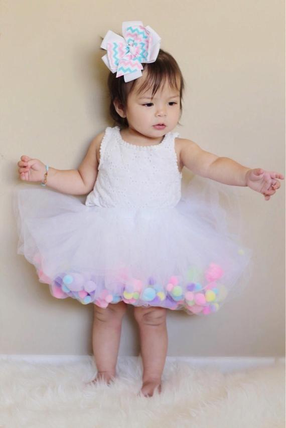 Pom Pom Birthday Tutu Pom Pom Skirt Pom Pom Tutu Dress | Etsy