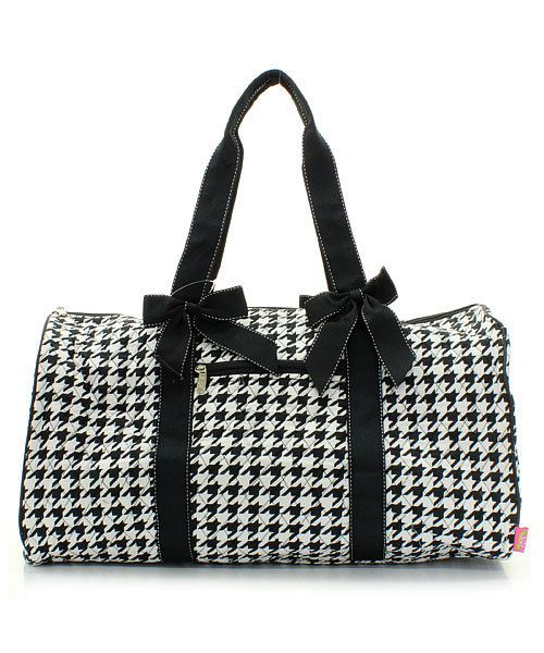 dc7bc976ff Black and White Houndstooth Quilted Duffle Bag with Personalized Embroidery  by EmbroideryByLindaP on Etsy