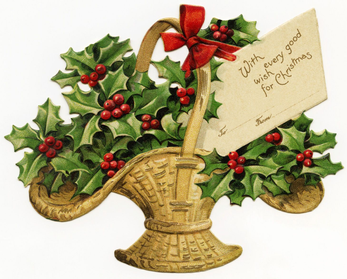 retro new year clip art free digital victorian clipart basket filled with holly
