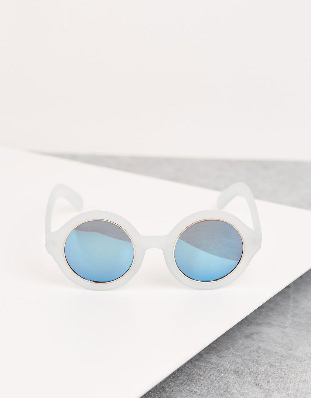 326872c303 Óculos redondos armação azul claro - Óculos - Bershka Portugal ...