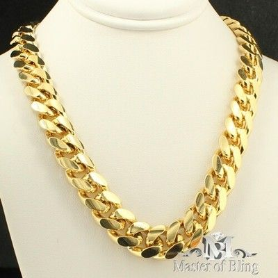 2589955d0a9f5 Mens yellow gold finish 10mm thick 30 +inch necklace rapper chain ...