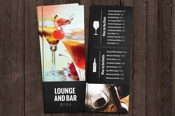 Bar And Lounge Drink Menu By Nathan Knight Design On Creativemarket