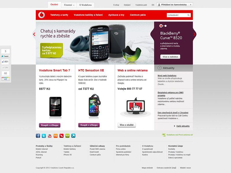 Vodafone Cz New Website Www Vodafone Cz Webdesign Web Vodafone
