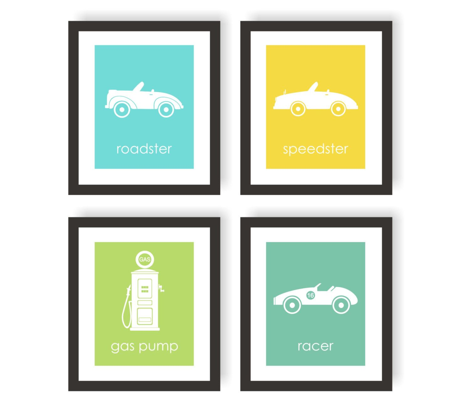Car Nursery Art Prints Set Of 4 Choose Color By