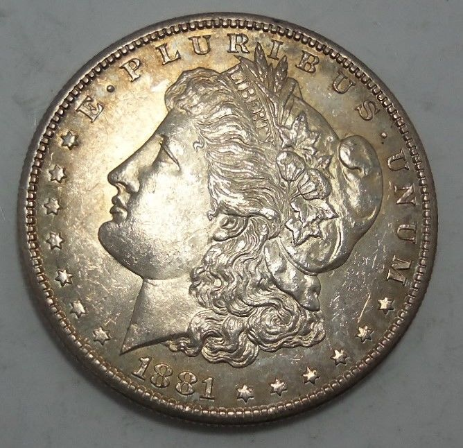 99 Cent Auction Authentic 1881 S Morgan Silver Dollar Coin High