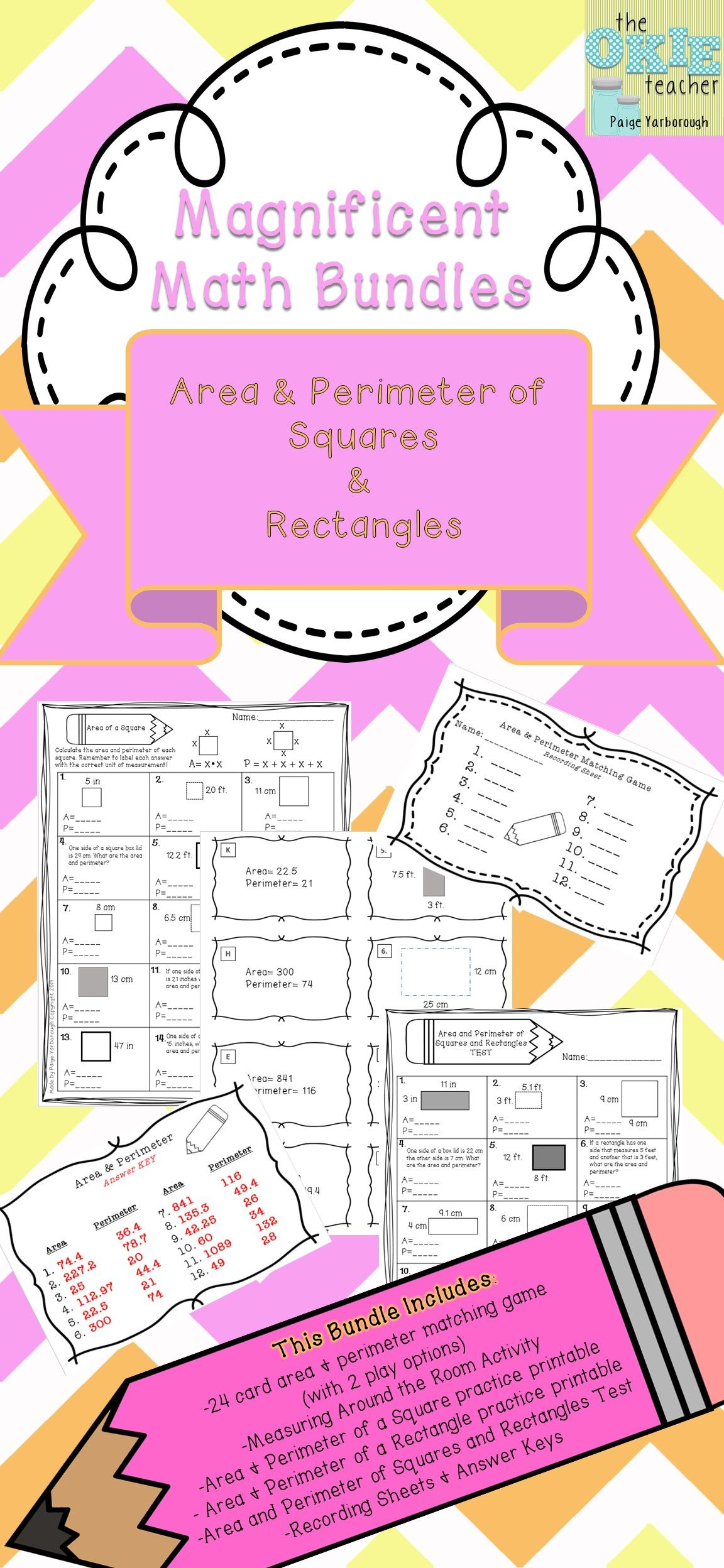 Magnificent Math Bundles Area And Perimeter Of Squares